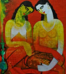 Figurative Acrylic Art Painting title 'Twins' by artist Appam Raghavendra