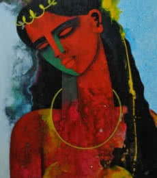 Appam Raghavendra | Acrylic Painting title Young Queen on Canvas | Artist Appam Raghavendra Gallery | ArtZolo.com