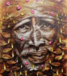 Figurative Oil Art Painting title 'Shirdi Sai Baba' by artist Darshan Sharma
