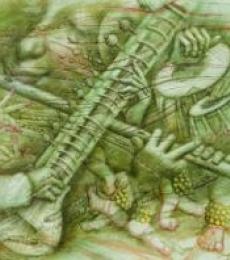 Music Oil Art Painting title Music 1 by artist Darshan Sharma