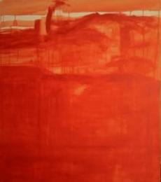Prakash Bal Joshi | Oil Painting title Drip Orange Abstract on Canvas | Artist Prakash Bal Joshi Gallery | ArtZolo.com