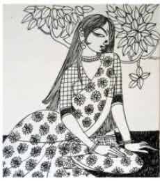 Figurative Ink Art Drawing title Evening by artist Varsha Kharatamal
