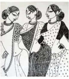 Figurative Ink Art Drawing title Three Women by artist Varsha Kharatamal