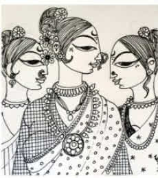 Figurative Ink Art Drawing title Adorned by artist Varsha Kharatamal