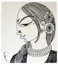 Woman | Drawing by artist Varsha Kharatamal |  | ink | Paper