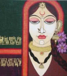 Figurative Acrylic Art Painting title Face 13 by artist Varsha Kharatamal