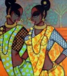 Figurative Acrylic Art Painting title Rhythmic 15 by artist Varsha Kharatamal