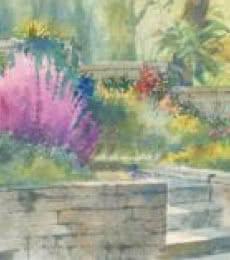 Sankara Babu | Watercolor Painting title Flowerbeds on Paper | Artist Sankara Babu Gallery | ArtZolo.com
