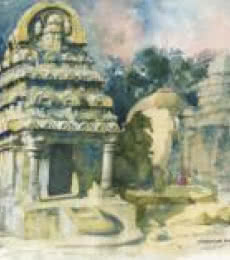 Scenic Watercolor Art Painting title 'Temple Watercolor' by artist Sankara Babu