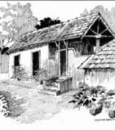 Scenic Pen Art Drawing title 'The Lonely House' by artist Sankara Babu