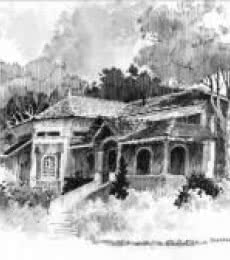 Scenic Pen Art Drawing title 'Bungalow' by artist Sankara Babu
