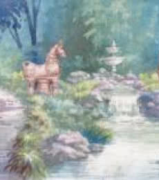 Fountain In A Park | Painting by artist Sankara Babu | watercolor | Paper