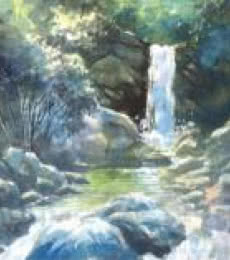 Scenic Watercolor Art Painting title 'The Waterfall' by artist Sankara Babu