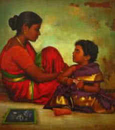 Mother and Daughter | Painting by artist S Elayaraja | oil | Canvas