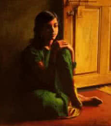 A Girl | Painting by artist S Elayaraja | oil | Canvas