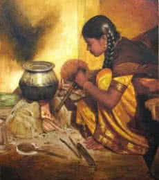 Figurative Oil Art Painting title 'Cooking Girl' by artist S Elayaraja