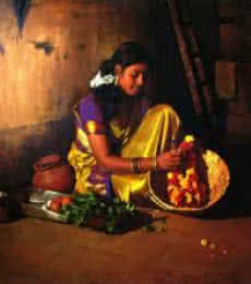 Flower Making | Painting by artist S  Elayaraja | oil | Canvas