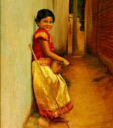 S Elayaraja | Oil Painting title Girl on Canvas | Artist S Elayaraja Gallery | ArtZolo.com