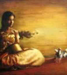 S Elayaraja | Oil Painting title Girl With Pigeon II on Canvas | Artist S Elayaraja Gallery | ArtZolo.com
