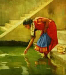 Puja Flower Offering | Painting by artist S  Elayaraja | oil | Canvas