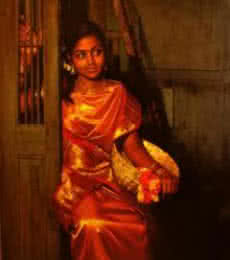 Figurative Oil Art Painting title Waiting at the Door by artist S Elayaraja