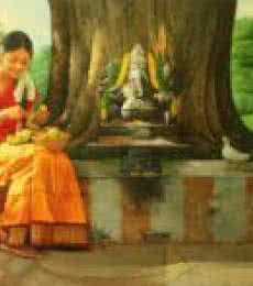 Girl Making a Garland | Painting by artist S Elayaraja | oil | Canvas