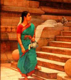 Figurative Oil Art Painting title Woman at the Temple Step by artist S Elayaraja