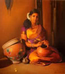 Woman Holding The Pot | Painting by artist S  Elayaraja | oil | Canvas