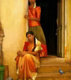 Figurative Oil Art Painting title 'Sisters' by artist S Elayaraja