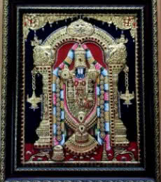 Traditional Indian art title Balaji Tanjore Painting on Plywood - Tanjore Paintings