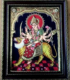 Traditional Indian art title Durga Tanjore Painting on Plywood - Tanjore Paintings