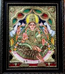 Traditional Indian art title GAJALAKSHMI TANJORE PAINTING on Plywood - Tanjore Paintings