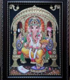 Traditional Indian art title GANESHA TANJORE PAINTING on Plywood - Tanjore Paintings