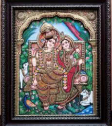 RADHAKRISHNA TANJORE PAINTING | Traditional art by artist KUM KUM GALLERY | Tanjore painting | PLYWOOD
