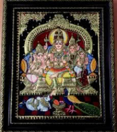 Shiva Family Tanjore Painting | Traditional art by artist VANI VIJAY | Tanjore painting | Plywood