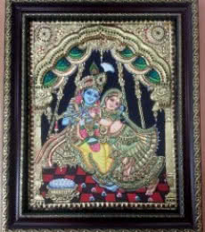 VANI VIJAY | Tanjore Traditional art title Swing Radhakrishna Tanjore Painting on Plywood | Artist VANI VIJAY Gallery | ArtZolo.com
