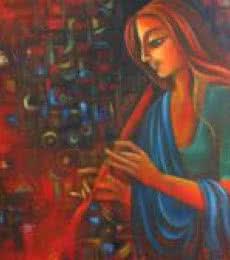 Figurative Oil Art Painting title Joy Of Life by artist Vijaya Ved