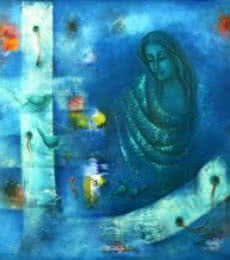Figurative Oil Art Painting title 'Mystic World II' by artist Vijaya Ved