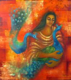 Figurative Oil Art Painting title Touch I by artist Vijaya Ved