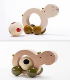 Oodees Toys | Chippo Pull Along Wooden Toy Craft Craft by artist Oodees Toys | Indian Handicraft | ArtZolo.com