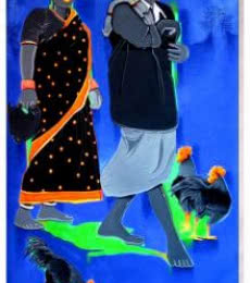 Figurative Acrylic Art Painting title 'Couple Going To The Market' by artist Tailor Srinivas