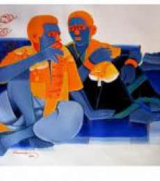 Tailor Srinivas | Acrylic Painting title Deep Talk on Canvas | Artist Tailor Srinivas Gallery | ArtZolo.com