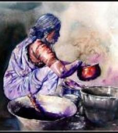 Pots/Vessels Watercolor Art Painting title Dishwasher Women by artist SRV ARTIST