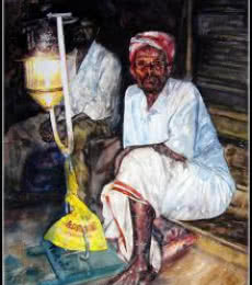 Festival Light With Man   Painting by artist SRV ARTIST   watercolor   Handmade Paper