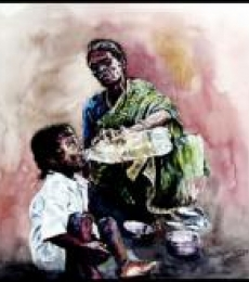 Figurative Watercolor Art Painting title 'Grand Mother Love 1' by artist SRV ARTIST