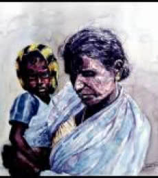Grand Mother Love 2 | Painting by artist SRV ARTIST | watercolor | Handmade Paper