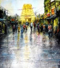 SRV ARTIST | Watercolor Painting title Kanchipuram Temple on Handmade Paper | Artist SRV ARTIST Gallery | ArtZolo.com