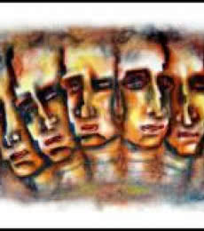 Several Face With Man | Painting by artist SRV ARTIST | dry-pastel | Box Board