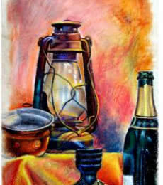 SRV ARTIST | Oil-pastel Painting title Still Life Oil Pastel on Box Board