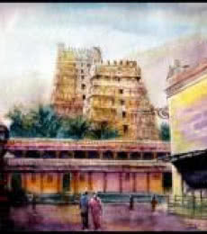 Temple 1 | Painting by artist SRV ARTIST | watercolor | Handmade Paper
